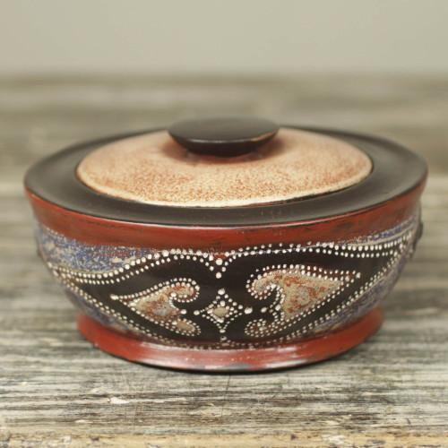 Artisan Crafted Wood Decorative Box with Aluminum Diamonds 'Akan Diamond Hearts'