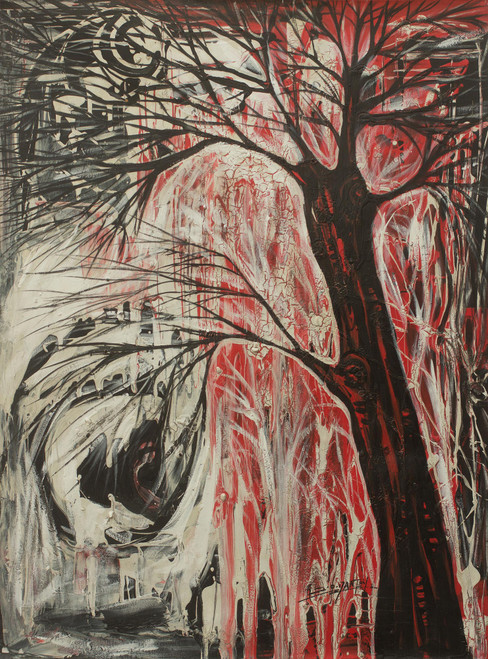 Expressionist Painting of Healing Tree from Africa 'Tree of Life'