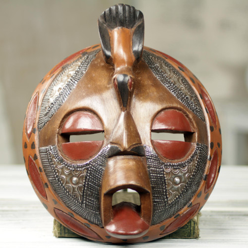 Circular Hand Crafted and Painted West African Mask 'Bird of Happiness'
