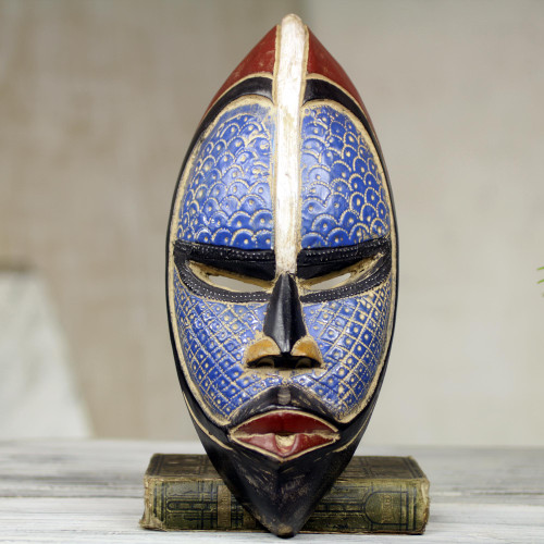 Artisan Crafted Blue African Mask in Wood and Aluminum 'Zulu Blue'