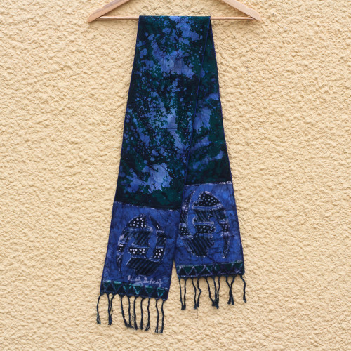 Handcrafted Signed Blue Batik Adinkra Scarf from Ghana 'Blue Gye Nyame'