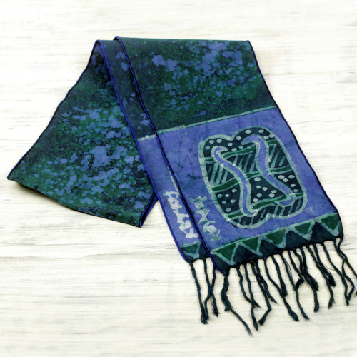 Signed Blue Batik Adinkra Scarf Handcrafted in Ghana 'Blue Unity Chain'