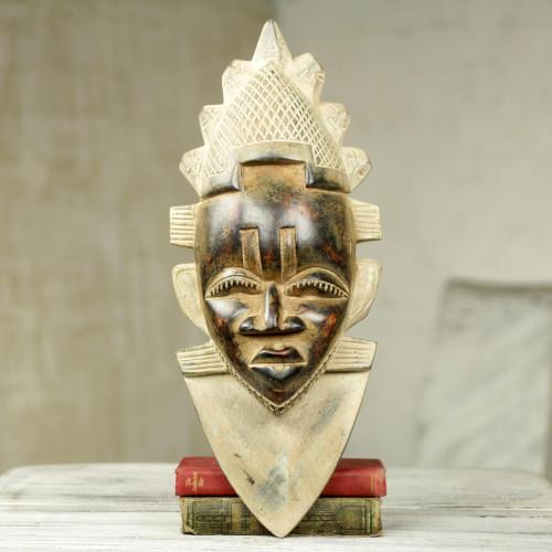 Antiqued African Wood Mask of Queen Idia Nigeria Festac 'Festac Queen Idia'