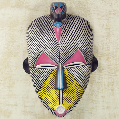 African Protection Spirit Wall Mask Artisan Crafted Wood Art 'Songye Kwifibe'