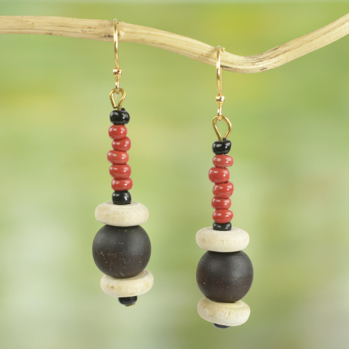 Red Agate and Wood Beaded Earrings Artisan Crafted Jewelry 'Stay with Me'