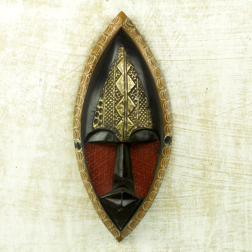 Embossed Brass and Hand Carved Wood African Mask 'A Peace Blessing'