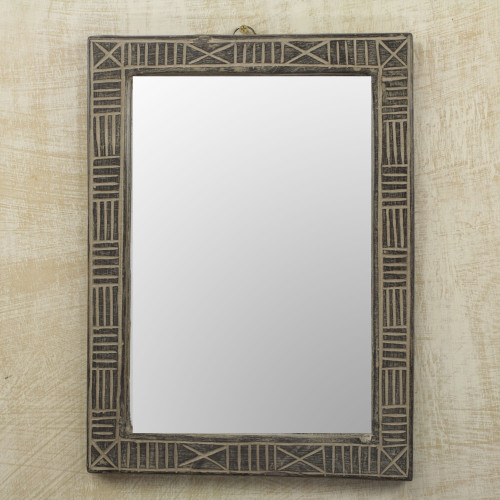 Hand Crafted Wood Wall Mirror from Ghana 'Ohemaa'