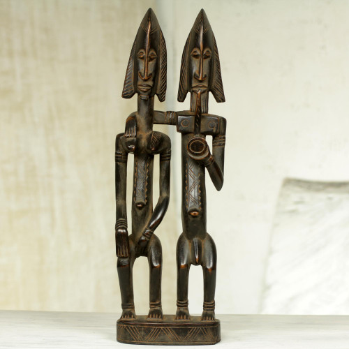 Authentic African Wood Sculpture of Dogon Couple 'Dogon Couple II'