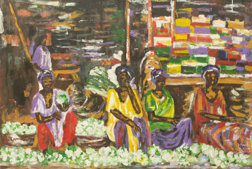 Acrylic Painting of African Market Women Selling Vegetables 'Cabbage Women'