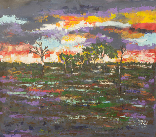 African Acrylic Landscape Painting of Australian Sunset 'Gulf Country'