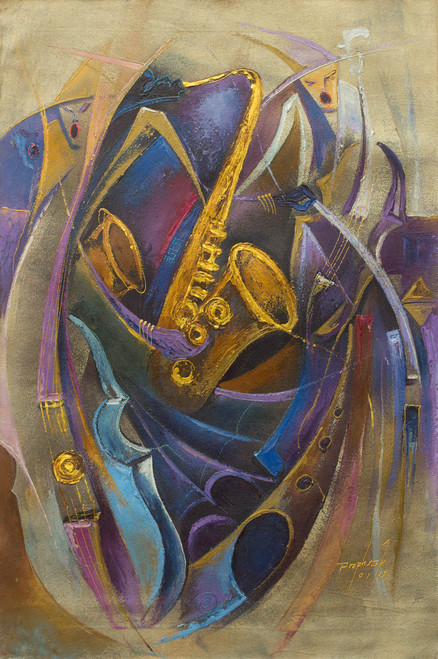 Acrylic Expressionist Painting Jazz Band from West Africa 'Jazz Orchestra II'