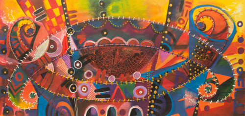 African Music Theme Signed Abstract Painting 'Together as One'