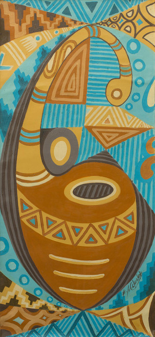 Original Oil on Canvas Panting of African Gourd 'Keys to Imagination'