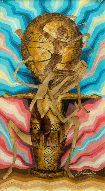 African Art Fertility Rites of Passage Mixed Media Painting 'Rites of Passage'