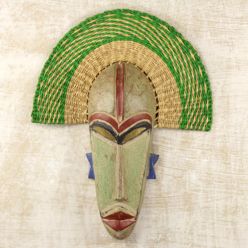 Hand Made African Mask with Wood and Raffia Accents 'Akuwuezuika'