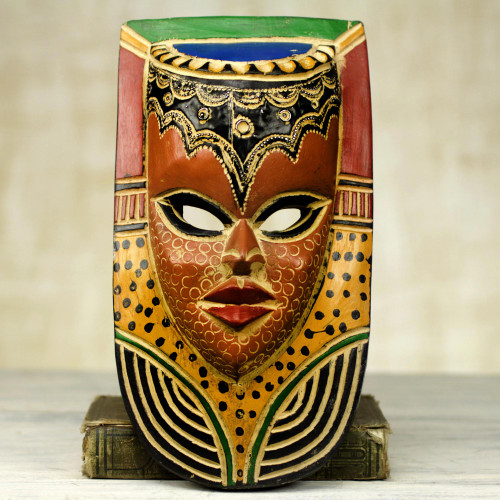 Hand Carved Sese Wood Mask Decorated With Paint and Aluminum 'Queen on the Wall'