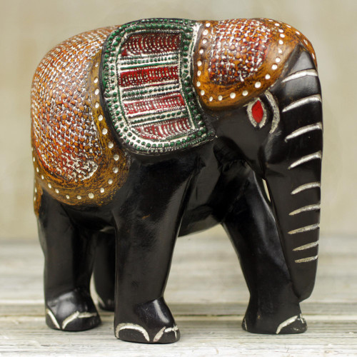 Hand Carved Sese Wood Elephant Featuring Ceremonial Design 'Exotic Elephant'