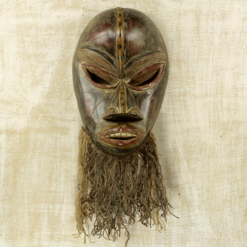 Hand Carved Sese Wood and Jute West African Wall Mask 'Dan'