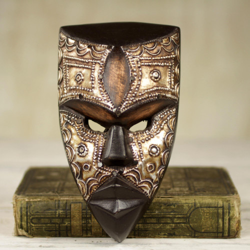 Aluminum and Wood African Mask Textured from Ghana 'Mbara Hunter'