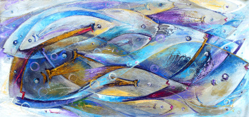 Abstract Themed Painting with Blue Fish Signed by Artist 'Interdependency'