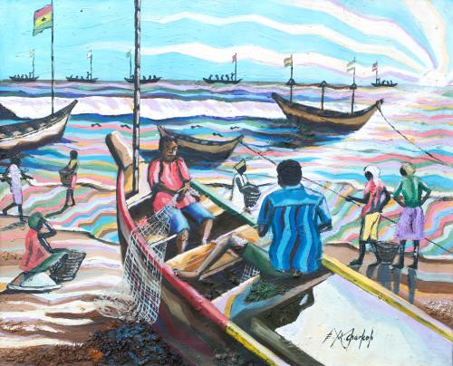 Fishermen on an Accra Beach Painting from Ghana 'Apam Beach'