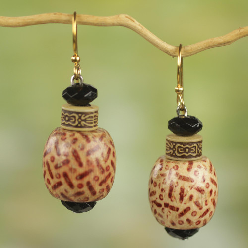 Wood and Recycled Plastic Rustic Dangle Earrings from Ghana 'Holy Love'