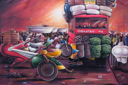Acrylic Caricature Painting of a Market Scene from Ghana 'Rush Hour'