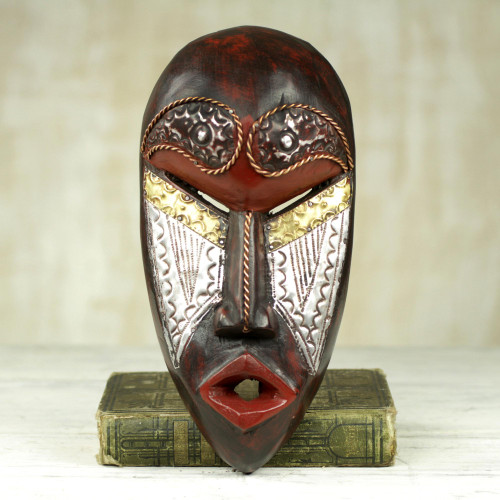 Hand Carved African Sese Wood Mask from Ghana 'Fear Him'