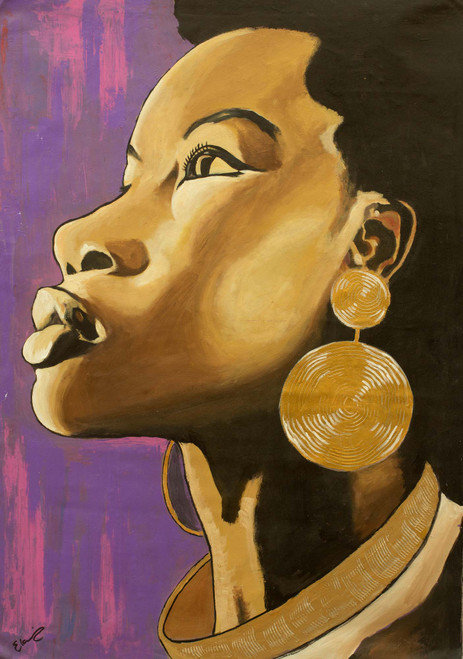 Acrylic Expressionist Painting of a Woman from Ghana 'Her Royal Highness'
