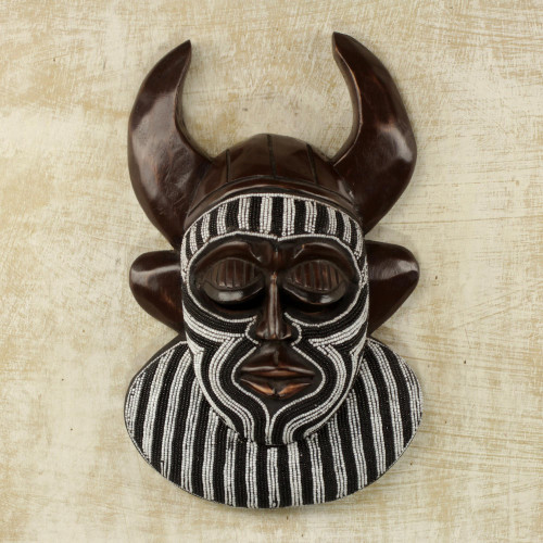 Black and White Beaded African Wood Horn Wall Mask of Power 'Kafo Horns'
