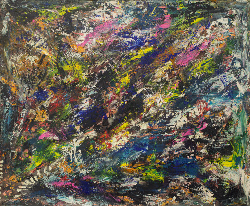 Artistic Signed Multicolored Abstract Painting from Ghana 'The Beginning of Creation'