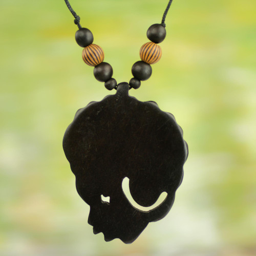 Mama Africa Jewelry Pendant Necklace in Hand Carved Wood 'Mama Africa'