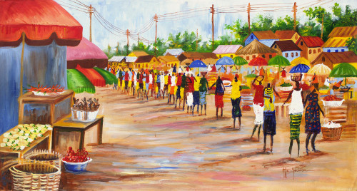 Signed Impressionist Painting of an African Market Scene 'Market Profile'