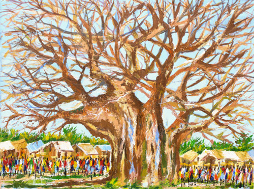 Signed Impressionist Painting of a Village Tree from Ghana 'Village Scape'