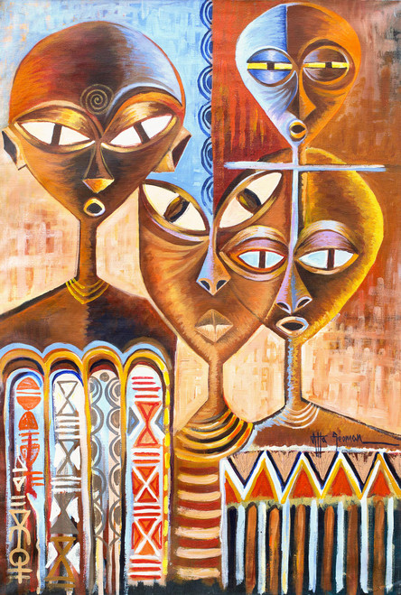 Signed Expressionist Painting of Ghanaian People with Masks 'Ceremonial Masks'