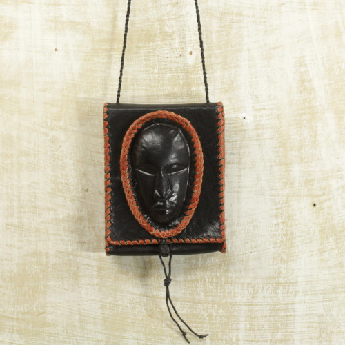 Black Leather Cell Phone Shoulder Bag with a Face from Ghana 'Watcher'