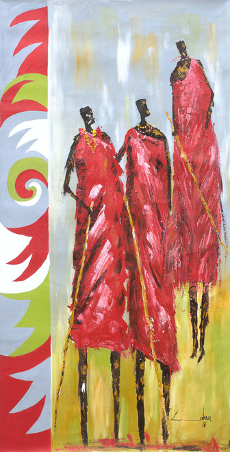 Signed Expressionist Painting of Maasai Dancers from Ghana 'Masai Dancers'