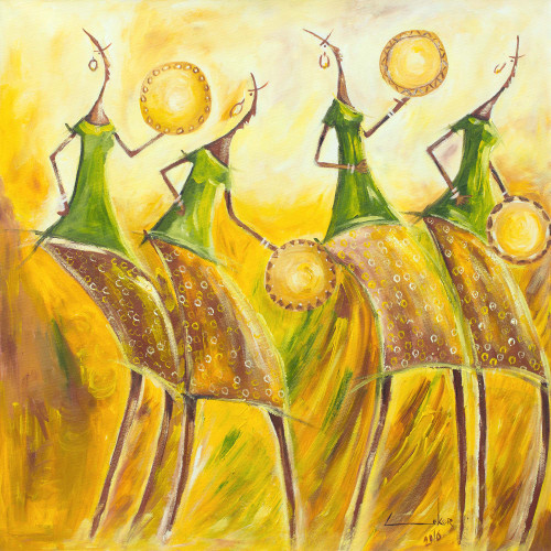 Signed Expressionist Painting of Dancing Women from Ghana 'Calabash Dancers'