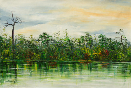 African River Scene Landscape Painting in Shades of Green 'Reflection II'