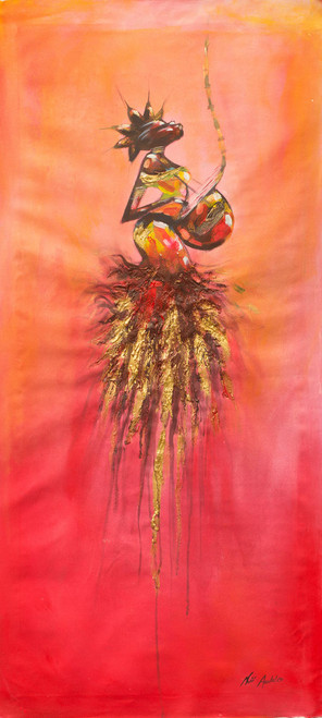Signed Expressionist Painting of a Cultural Musician 'Making Melody'