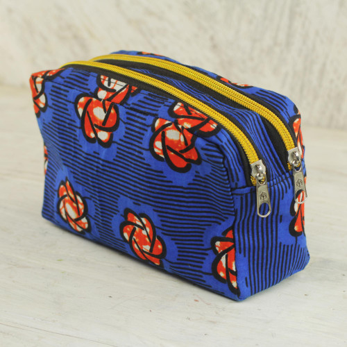 Cotton Cosmetic Case in Royal Blue and Flame from Ghana 'Virtuous Obaa Sima'