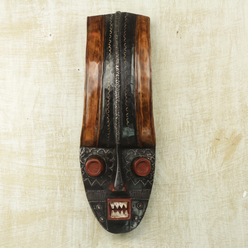 Handcrafted Sese Wood Wall Mask from Ghana 'Powerful Warrior'