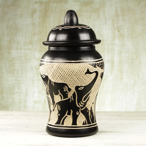 Sese Wood Decorative Jar with Elephant Designs from Ghana 'Kingdom of Elephants'
