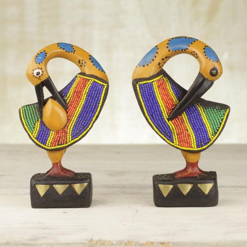 Two Wood and Recycled Glass Adinkra Sankofa Bird Sculptures 'Colorful Sankofa'