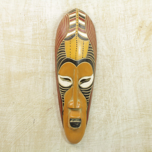Hand Carved Rubberwood Yellow Akoni Warrior Mask from Ghana 'Yellow Akoni'