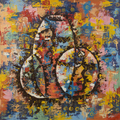 Signed Multicolored Abstract Painting from Ghana 'Pots'