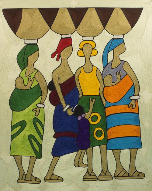 Handcrafted Cultural Silk Wall Art of Women from Ghana 'Market Women'