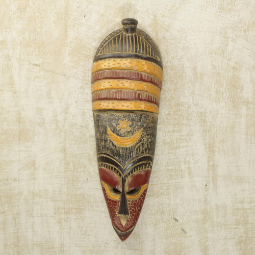 Handmade African Colorful Sese Wood Wall Mask from Ghana 'Colorful Villager'
