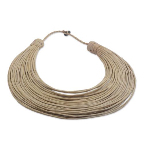Handmade Beige Leather Strand Statement Necklace from Ghana 'Buudu'
