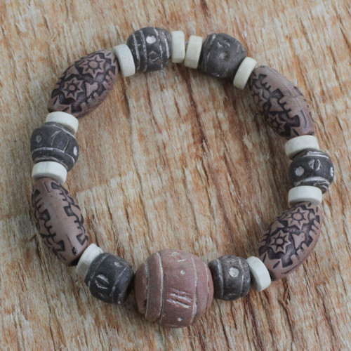 Terracotta, Wood and Recycled Plastic Beaded Bracelet 'Earthy Embrace'